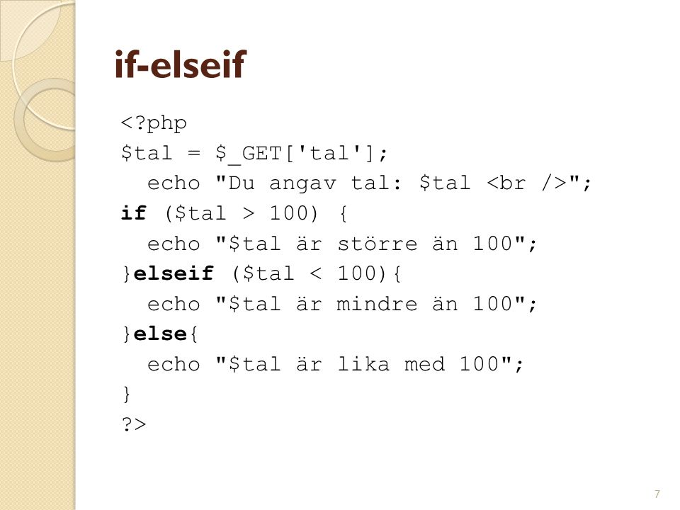 if-elseif < php $tal = $_GET[ tal ];